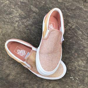 Vans Rose Gold Shimmer Slip On Sneakers, 7